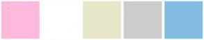Color Scheme with #FFBADE #FFFFFF #E7E6C8 #CCCCCC #84BDE3