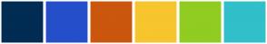 Color Scheme with #012C53 #254FCA #CB560D #F7C52D #91CC21 #31BFC9