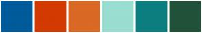 Color Scheme with #005B9A #D23A01 #D96924 #99DED0 #0C7E80 #215239