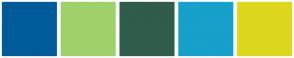 Color Scheme with #005B9A #9FD16B #305C4C #17A0C9 #DDD81D