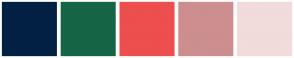 Color Scheme with #022044 #156546 #ED4E4E #CC8E8E #F1DBDB