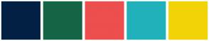 Color Scheme with #022044 #156546 #ED4E4E #20B1BB #F2D308