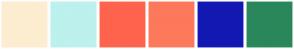 Color Scheme with #FDEDD0 #BCF1ED #FF634D #FD795B #1418B2 #2A875B
