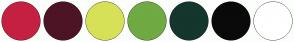 Color Scheme with #C52041 #4D1426 #D7E157 #70AA42 #15362D #0A0A0A #FFFFFF