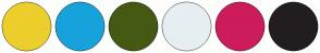 Color Scheme with #ECCE2C #18A2DB #455912 #E6EEF1 #CC1C5C #221E1F