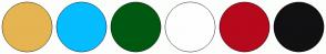 Color Scheme with #E5B551 #05BDFF #005911 #FEFEFE #B6091C #111012