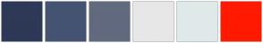 Color Scheme with #2D3956 #455372 #616A7F #E7E7E7 #E0E9E9 #FF1A00