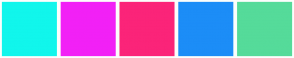 Color Scheme with #11F6EC #F220F6 #FB2479 #1C8DF7 #55DB9A