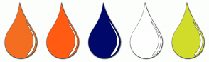 Color Scheme with #F36E21 #FF5B13 #00086A #FEFEFE #D2DC2A