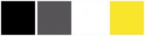 Color Scheme with #000000 #575557 #FFFFFF #FAE52D