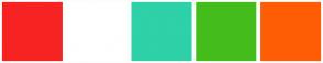 Color Scheme with #F72323 #FFFFFF #2ED1A8 #44BD1C #FF5D05