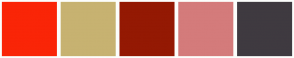 Color Scheme with #FA2507 #C7B271 #941903 #D47B7B #3F3A40