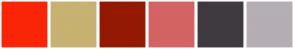 Color Scheme with #FA2507 #C7B271 #941903 #D46363 #3F3A40 #B5AEB5