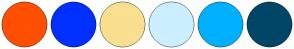 Color Scheme with #FF4F00 #0030FF #F9DF90 #CCEFFF #00B0FF #004666