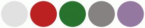 Color Scheme with #E1E1E1 #BB2121 #27722D #868282 #95789F