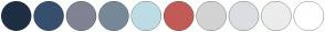 Color Scheme with #1F2E42 #374F6F #808393 #778899 #BEDCE6 #C25B56 #D3D3D3 #DCDDE3 #ECECEC #FFFFFF