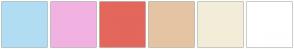 Color Scheme with #B1DDF3 #F1B2E1 #E3675C #E5C4A3 #F2EDD8 #FFFFFF