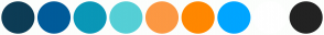 Color Scheme with #0D3C55 #005B9A #0A97B7 #55CFD6 #FC9843 #FF8700 #00A5FF #FFFFFF #222222