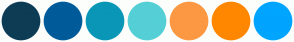 Color Scheme with #0D3C55 #005B9A #0A97B7 #55CFD6 #FC9843 #FF8700 #00A5FF
