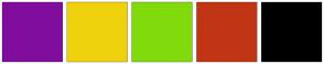 Color Scheme with #810D9E #EFD20D #81DB0C #C13515 #000000