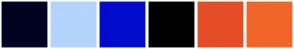 Color Scheme with #000222 #B3D4FC #000CCC #000000 #E44D26 #F16529