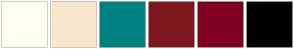 Color Scheme with #FFFFF0 #F7E7CE #008080 #7F171F #800020 #000000