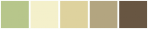 Color Scheme with #B7C68B #F4F0CB #DED29E #B3A580 #685642