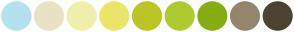 Color Scheme with #B3E1EF #E9E1C4 #F0EFAC #EBE569 #BAC427 #ACCB30 #86AD12 #94866C #4D4332