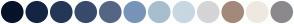 Color Scheme with #06132A #132542 #243757 #384B6C #556685 #7894B9 #A7BECE #C7D8E2 #D5D5D7 #A3897A #EEE9E0 #8B898E