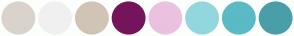 Color Scheme with #DAD3CB #F0F0F0 #D0C4B6 #75145B #EAC1DF #93D7DE #5ABAC6 #4A9EA8