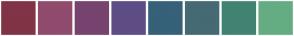 Color Scheme with #763B3B #894658 #803E64 #87448B #574985 #425C87 #406883 #3E8585 #408B6D