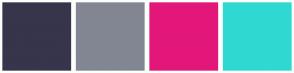 Color Scheme with #36354B #828692 #E3177A #2FD9D2