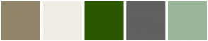 Color Scheme with #918469 #F0EDE7 #2C5701 #606060 #9AB598