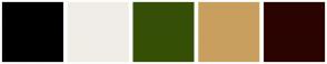 Color Scheme with #000000 #F0EDE7 #364F06 #C99F5F #2B0402