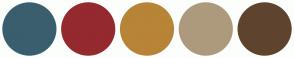 Color Scheme with #3A5E6E #94292F #B88437 #AD9A7D #5E442E
