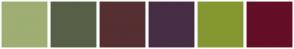 Color Scheme with #9DAF72 #566047 #562F32 #462D44 #859731 #640E27