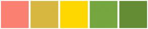 Color Scheme with #FA8072 #D7B740 #FFD700 #76A63F #648C35
