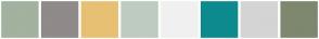 Color Scheme with #A3B19F #908A8A #E8C073 #BECCC0 #F0F0F0 #0D8A8D #D4D4D4 #7D886F