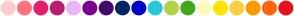 Color Scheme with #FFCCCB #FF717E #E31E6C #B81F6B #E8B5F5 #79008F #440A6B #032666 #0000C9 #29C7D9 #B1D44A #40A81D #FFFBB8 #FFE500 #FFCF40 #FF9900 #FF620D #E6121D