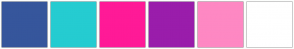 Color Scheme with #36569C #25CCD1 #FF1A97 #9A1DAB #FE88C3 #FFFFFF