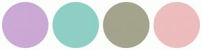 Color Scheme with #CAA9D4 #8ECFC5 #A3A48B #EDBCBC