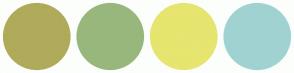 Color Scheme with #AFAB5B #98B77D #E5E56F #A1D2D2
