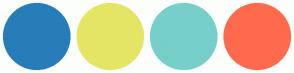 Color Scheme with #267DB8 #E5E565 #77CFCA #FF6A4D