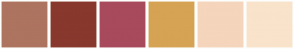Color Scheme with #AD7460 #88382D #A84A5C #D6A354 #F5D5BC #F9E3CB
