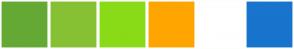 Color Scheme with #65A935 #86C133 #89DB17 #FFA500 #FFFFFF #1874CD