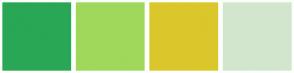 Color Scheme with #29A755 #A0D85C #DAC72B #D2E6CD
