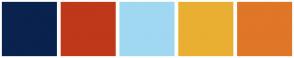 Color Scheme with #0A224E #BF381A #A0D8F1 #E9AF32 #E07628
