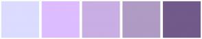 Color Scheme with #DBDCFF #DDBCFF #C8AEE3 #AF9BC4 #725A8B