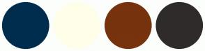 Color Scheme with #002D4D #FFFFE9 #76330E #2F2B2B