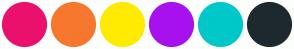 Color Scheme with #EA116C #F7772E #FFEB00 #A711EE #00C8C8 #1E292F